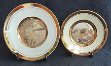 Two Chokin Decorative Plates Birds Peacock Swans VGC Gold Japanese