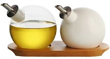 Typhoon Orb Drizzler Cruets (Set of 2) w/ Bamboo Base Oil And Vinegar