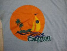 Vintage Cayman Islands Paradise Beach Sunrise Sunset Palm Sailboat T Shirt XS