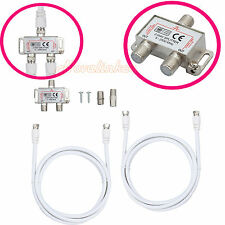 Digital 2 Way Coaxial F Type TV/Broadband Antenna Aerial Splitter KIT 5-2400MHz