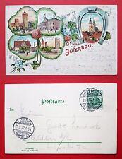 Kleeblatt Litho AK JÜTERBOG 1902 Post, Rathaus mit Kriegerdenkmal   ( 23482