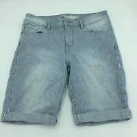 Levis Womens Size 6 Blue White Striped Cuffed Bermuda Shorts Jean Denim