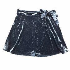 NWT American Eagle Blue Crushed Velvet Wrap Tie Waist Mini Skirt Size Small