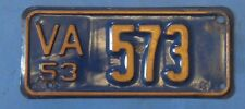 1953 Virginia Motorcycle License Plate all original