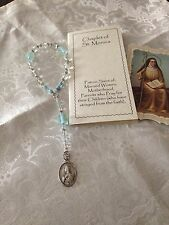 "New Hand-made St. Monica Chaplet, Glass & Cane beads, ""PATIENCE"" Prayer booklet"