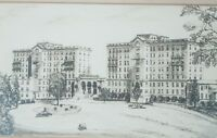 """Vintage Mid-Century Etching """"Apartment Buildings"""" by Sidney L. Kaye Listed"""