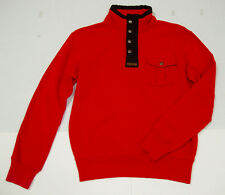 Polo Ralph Lauren Sweater Pullover L Red Mock Neck Solid Cotton 1/2 Zip New