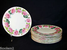 "11 GEORGE JONES & SONS CRESCENT CHINA - # 19529 - PINK ROSES - 9-3/4"" PLATES"