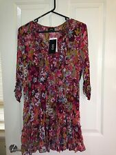 Sara floral Tunic Size 1X Plus Size with 3/4 Sleeves BNWT Crimson/Multi