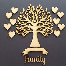 Family Tree Set MDF Wooden Laser Cut Craft Blank  Wedding Guestbook 10 hearts v6
