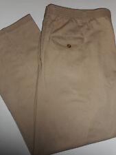 TOWNCRAFT 40 x 29 Comfort Fit Back Elastic Waist Flat Front Khaki Tan Pants