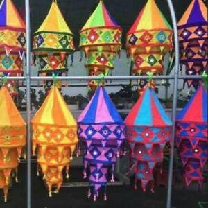 Indian Decorative Lamp shade Cotton Fabric Lanterns Collapsible Wholesale Lot