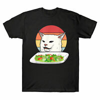 Funny Angry Women Yelling At Confused Cat At Dinner Table Meme Men's T-Shirt Tee