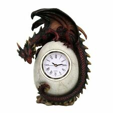 Red Perched Dragon Egg Clock Roman Numeral Office Home Decor Figurine
