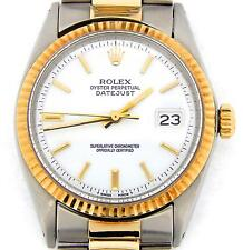 Rolex Datejust Mens 2Tone 14K Gold Stainless Steel Watch Oyster White Dial 1601