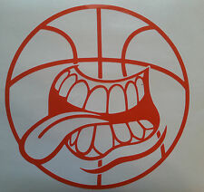Funny Basketball Decal B Ball Court Time Face tongue car truck Window sticker A