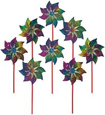 8 Rainbow Pinwheels, Windmills Mylar Whirl Spinner Outdoor Parties Fabric New