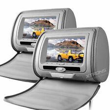 "2x 7"" Car Digital Monitor Video Headrest DVD Player Game USB SD MP3 FM/IR Grey"