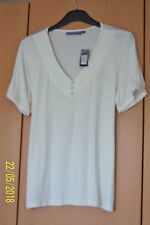 "LADIES STRETCH IVORY TOP SIZE 14 + TIE BELT SHORT SLEEVES V NECK 24"" LONG BNWT"