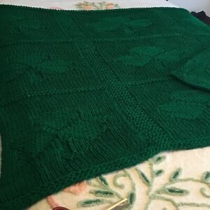 """AFGHAN WITH 3 LEAF CLOVERS! HUNTER GREEN 62"""" X 58"""" VERY PRETTY!"""