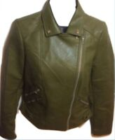 NWT Zara Cropped Faux Leather Moto Jacket Army Green Size Small