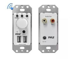 Pyle Bluetooth Receiver Wall Mount - In-Wall Audio Control Receiver w/ Dual USB