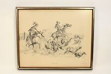 Buck McCain All in a Days Works Cowboy Western Art Print Roping Cattle Framed