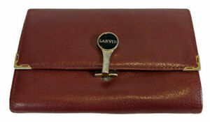 LANVIN wallet. Vintage Burgundy leather tri-fold wallet with coin purse. EUC