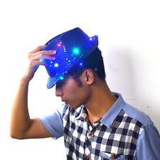 10pc/Lot Men Boy LED Flashing Party Fedora Sequins Light Up Jazz Cap Hip Hop Hat