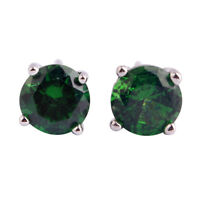 Chic Green Topaz Charming Gemstone Jewelry Stud Dangle Silver Earrings Free Ship