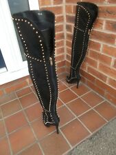 Sexy Black Suede Effect STUDDED Thigh Hi Boots * 6 uk  GOTH * BEDROOM * BACK ZIP