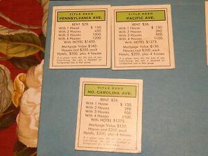 Monopoly title deeds- GREEN properties- PACIFIC, NO. CAROLINA, PENNSYLVANIA AVE
