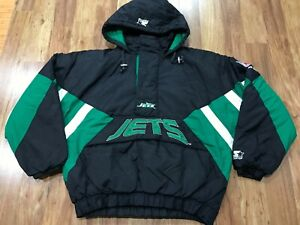 MENS LARGE - Vtg 90s NFL New York Jets Starter Quilted Hooded Pullover Jacket
