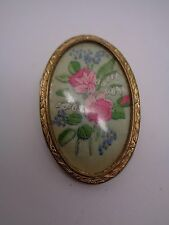 VINTAGE HAND SEWN ROSE EMBRODERY BROOCH GOLD TONE MOUNT