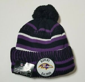 New Era Baltimore Ravens Knit Beanie Hat Removable Pom NFL 100 Years Adult O/S