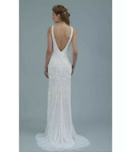 Theia Bridal Couture Tara Beaded Wedding Gown Size 6 Ivory Unaltered