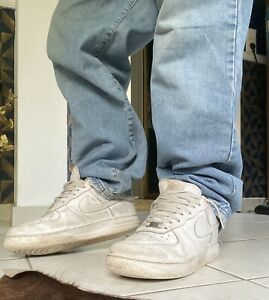 Nike Air Force One 45 Weiß Sneaker Schuhe Used AF1 Skater UK10 White Sneax