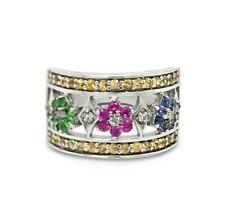 Гранд распродажа кольцо желтого, розового и цейлонский сапфир КIng 14K белое золото