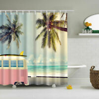 Roadside Coconut Trees Polyester Waterproof Bathroom Fabric Shower Curtain