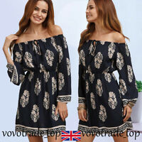New Womens Long Sleeve Loose Dress Ladies Off The Shoulder Short Mini Size 8-14