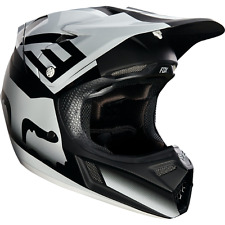 FOX RACING MENS ADULT V3 SHIV HELMET MX ATV MOTOCROSS Black/White M