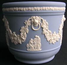 "Vintage Wedgwood Blue Jasperware Jasper Ware 4 3/8"" Tall Jardiniere Cachepot"