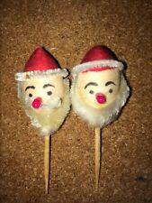 RARE Vintage Christmas Mid -Century SANTA Toothpicks (2) JAPAN Cocktail Cupcake