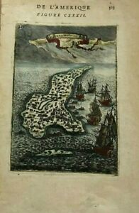 BAHAMAS CARIBBEAN 1683 ALAIN MANESSON MALLET ANTIQUE BIRD'S VIEW IN COLORS