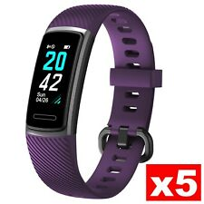 Bundle 5 Pieces NOZIROH Watch Fitness Tracker Heart Rate Calorie Band Viola