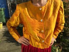Silk jacket golden yellow waisted box bolero style VGC professionally handmade