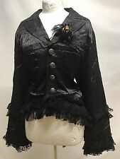 Steampunk Gothic Victorian Style Jacket With Lace Trim And Rose xL