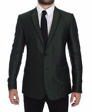 NWT $2400 DOLCE & GABBANA Green Slim Fit Silk Two Button Blazer Coat IT44 / US34