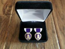 U.S Military Purple Heart Cufflinks With Jewelry Box 1 Set Cuff Links Boxed