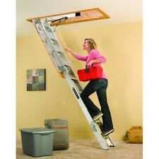 Attic Folding Ladder Pull Down Stairs Aluminum 350 LB. Loft Door Storage Garage